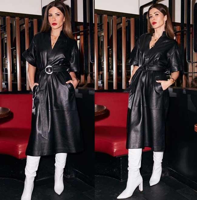 Модное черное кожаное платье 2019-2020