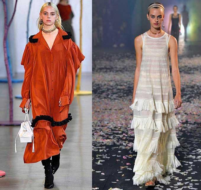 Модные платья с рюшами, бахромой 2019-2020