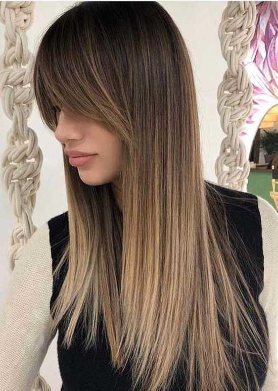 Длинные волосы с удлиненной челкой