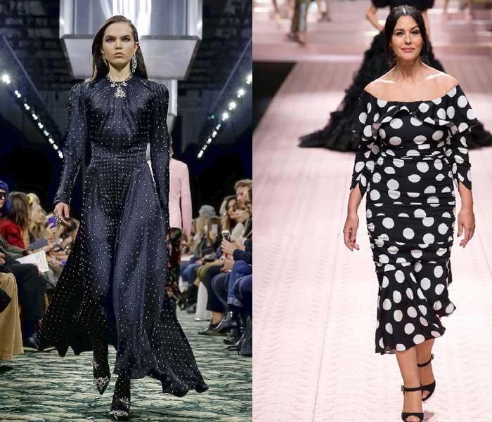 Модные платья в разный тип горошка