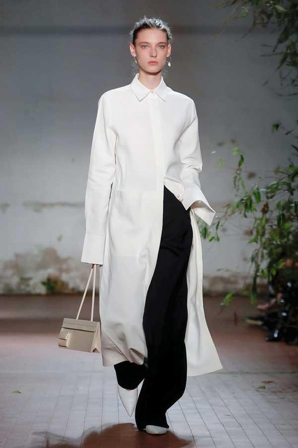 Лук Jil Sander с чем носить длинную белую рубашку