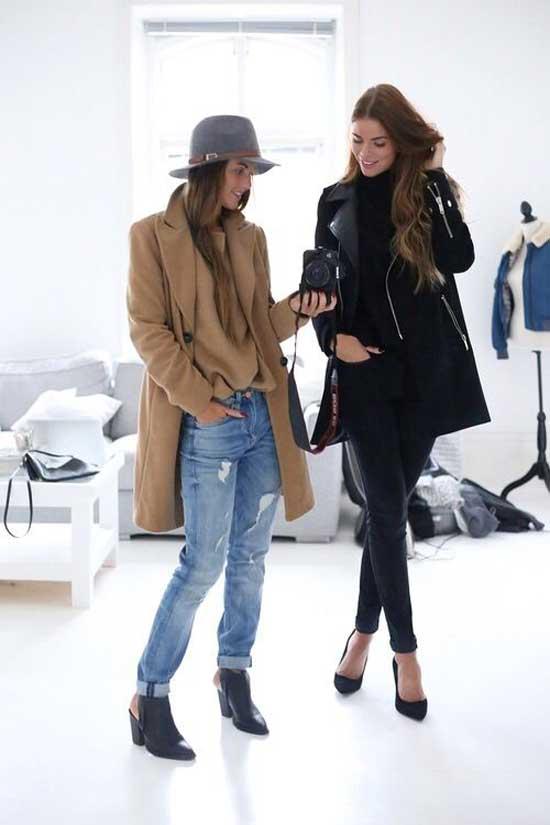 Бойфренды с бежевым пиджаком и шляпой в тон