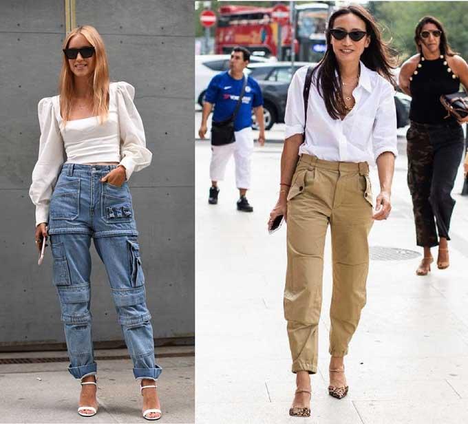 С чем носить брюки в стиле карго
