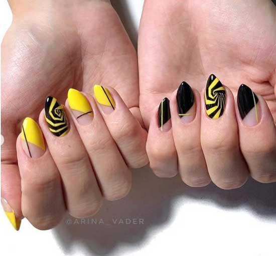 Черно-желтый маникюр на ногтях