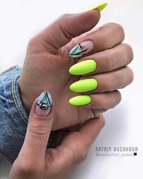 Кислотная абстракция дизайн ногтей