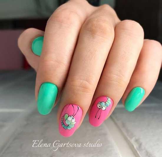 Розовый + зеленый дизайн маникюра лето 2019