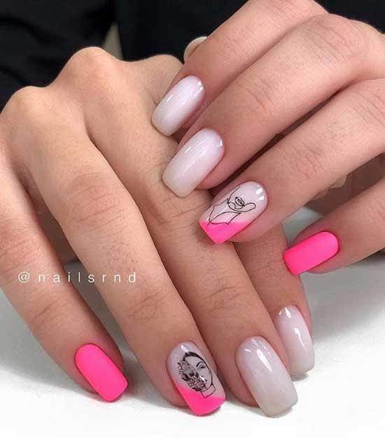 Фуксия+нюдовый модный цвет ногтей