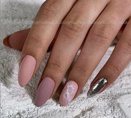 Матовые разноцветные ногти