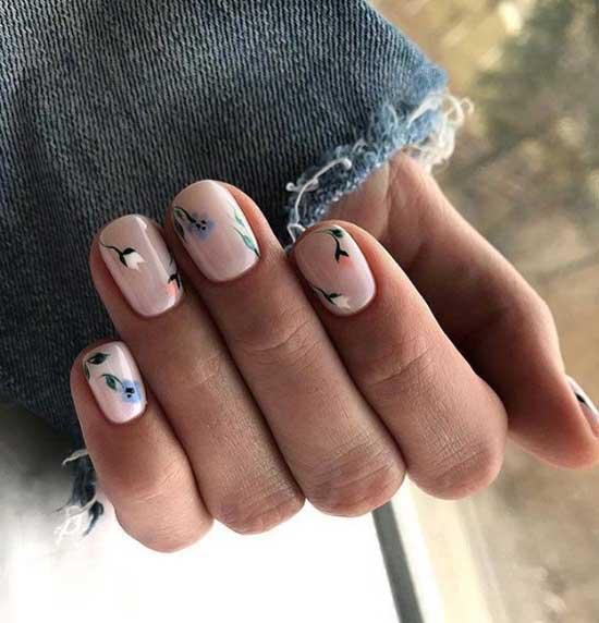 Светлый маникюр короткие ногти