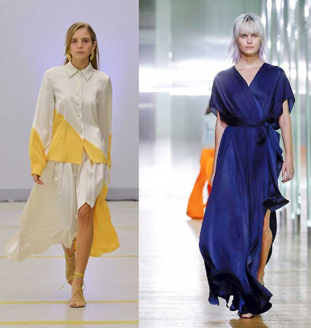 Шелковые модные платья и юбки для лета