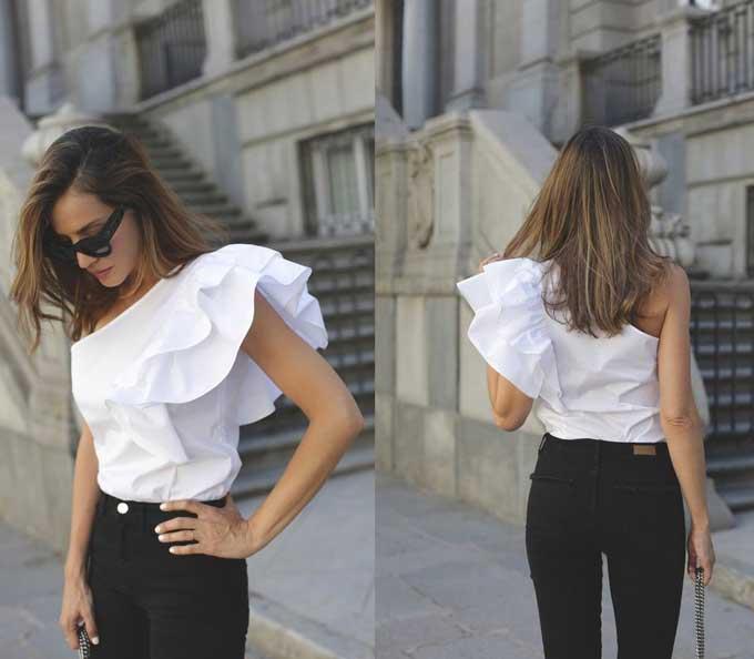Топ на одно плечо: маст-хэв вместо футболки, модные образы, фото