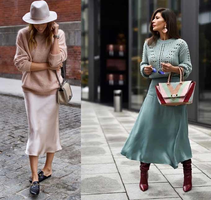 Модные образы с юбкой слип
