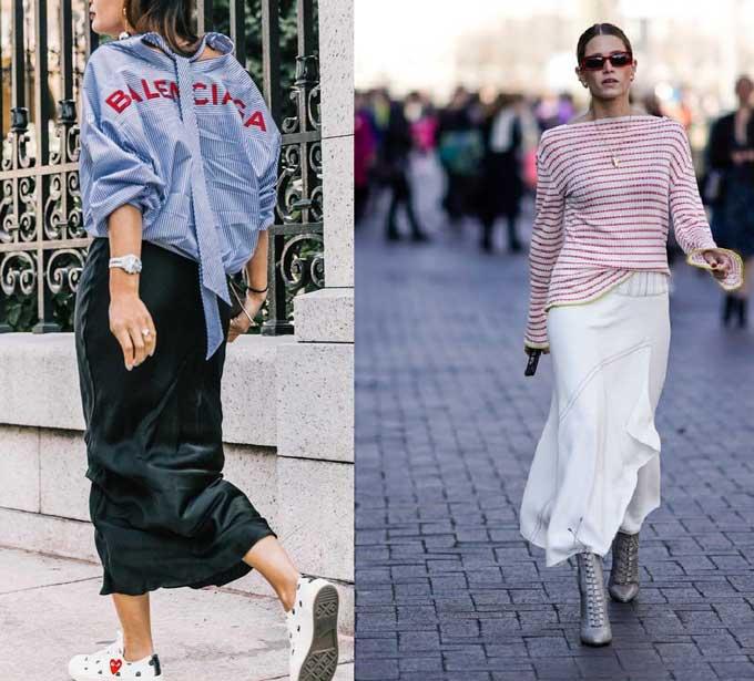 Модные образы с юбкой в бельевом стиле