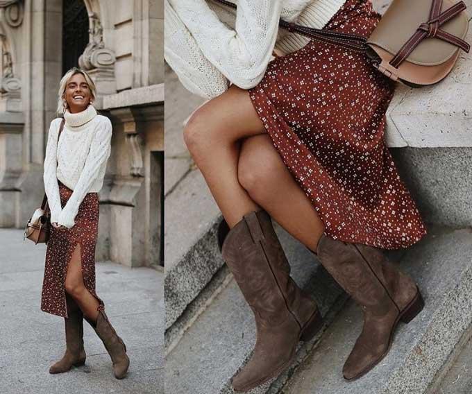 Шелковая юбка с принтом свитером и высокими сапогами