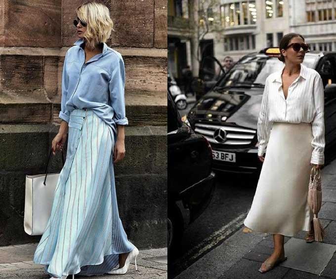 Образы с шелковой юбкой фото