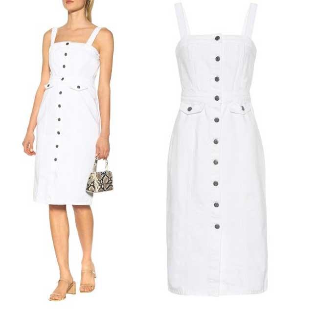 Белое джинсовое платье на пуговицах
