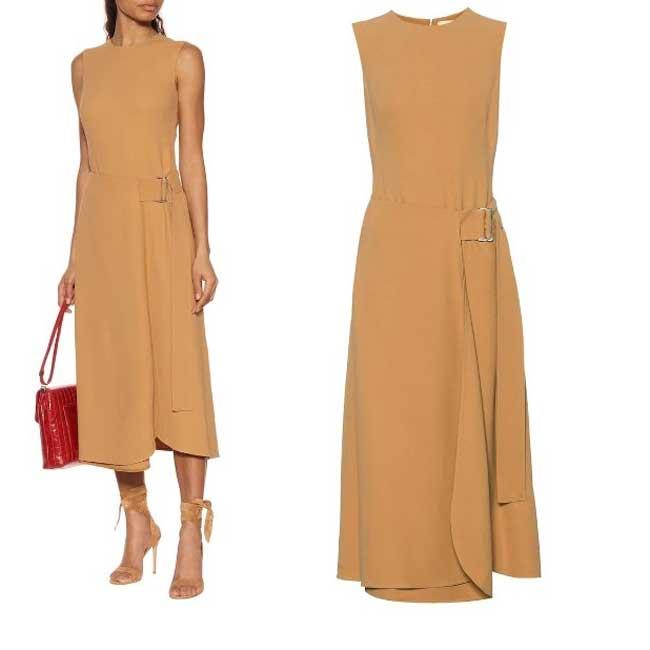 Коричневое легкое платье для офиса