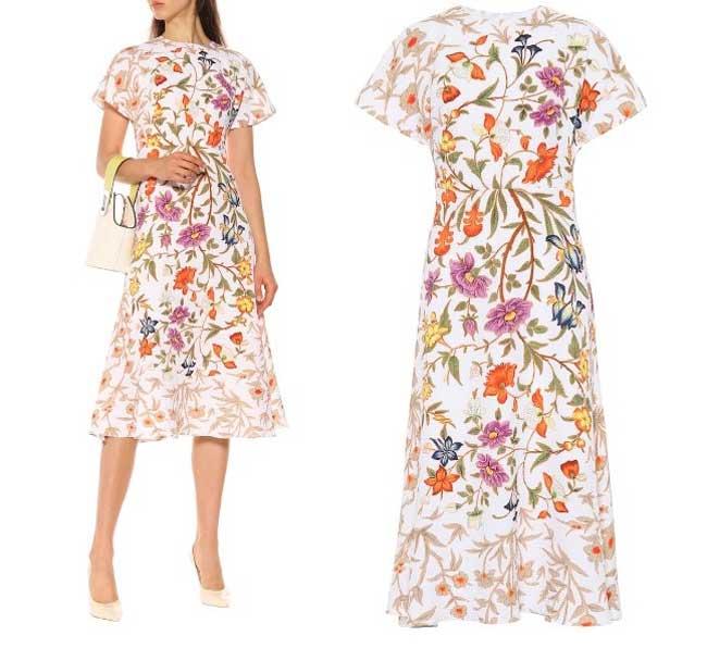 Платье в офис с флоральным принтом