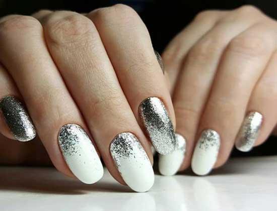 Дизайн ногтей омбре блестками