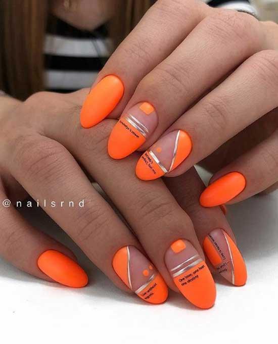 Ярко-оранжевый маникюр с фольгой