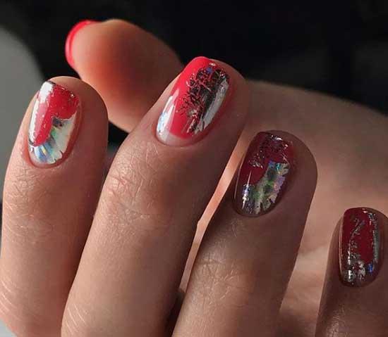Серебристая фольга - дизайн ногтей