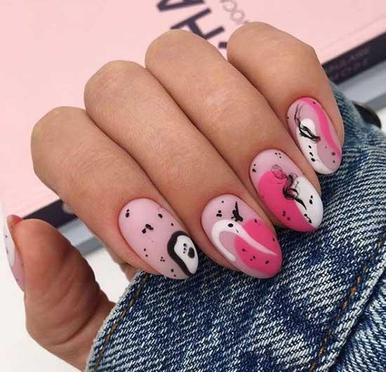 Розовая абстракция - дизайн ногтей