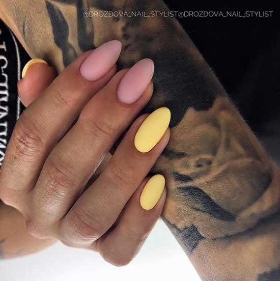Розовый + желтый модный маникюр