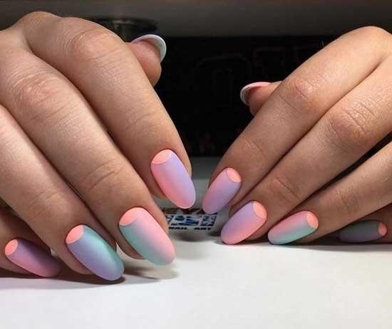 Вертикальный розовый градиент на ногтях