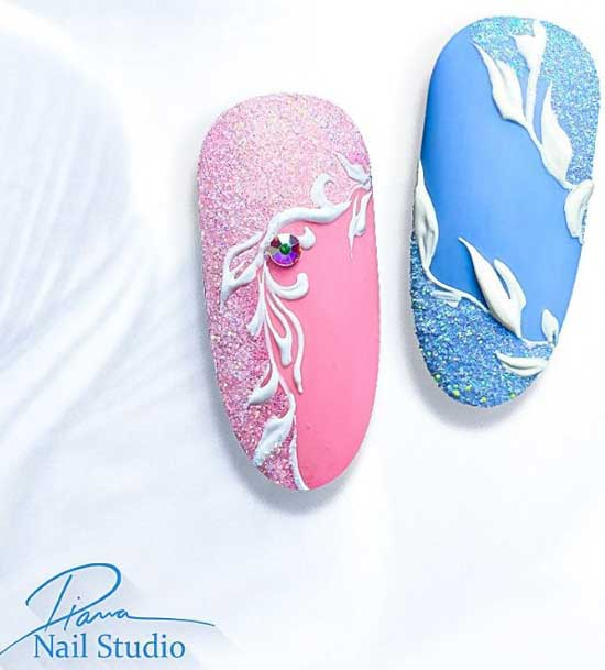 Пример нежного дизайна ногтей