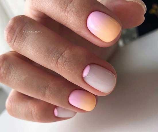 Нежный градиент на ногтях