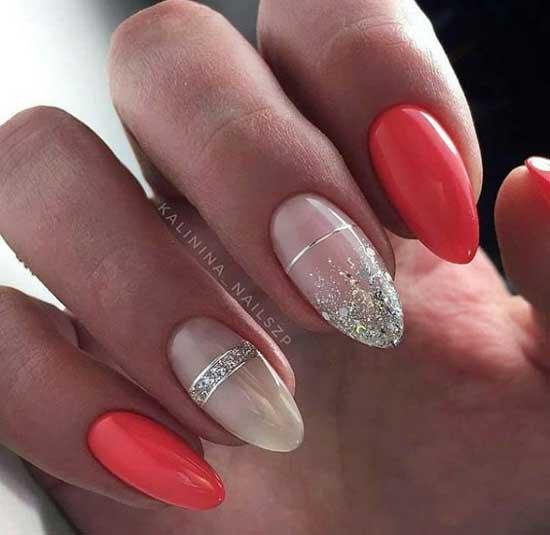 Красивый дизайн ногтей в ярких тонах коралла