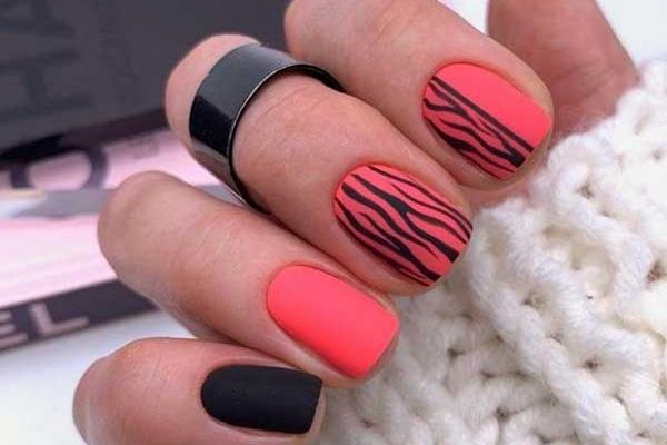 Коралловый - дизайн ногтей на лето