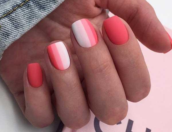 Коралловый - дизайн ногтей в офис
