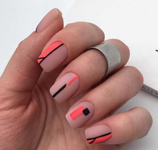 Геометрический коралловый - дизайн ногтей для деловой женщины