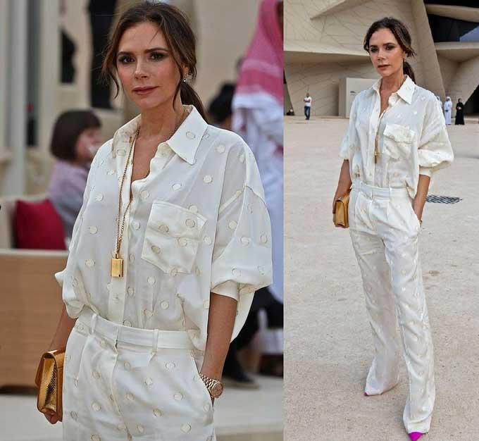 Модные рубашки с карманом образ Виктории Бекхэм