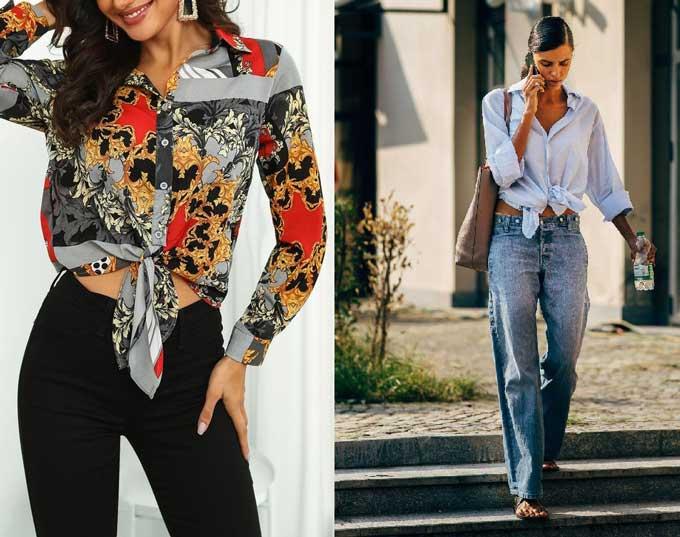 Рубашка с узлом - образы с чем носить