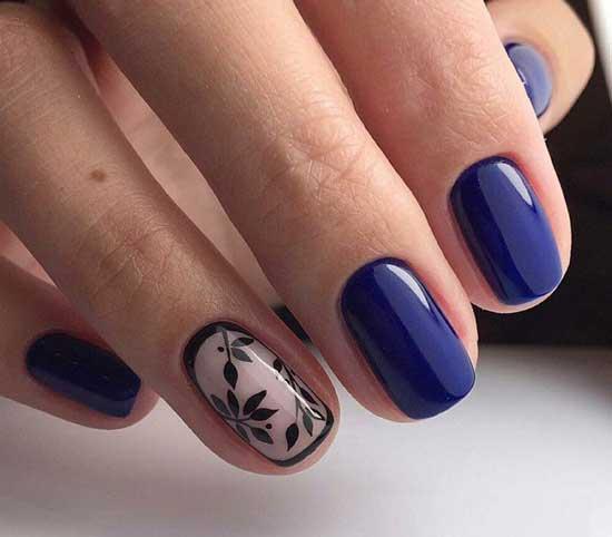 Синий маникюр с акцентом на один палец в деловом стиле