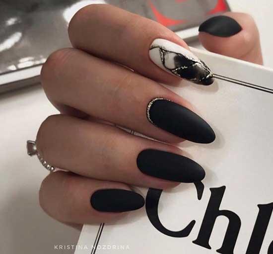 Черный матовый маникюр на длинные ногти в офис