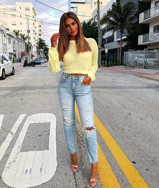 Модный лук с джинсами