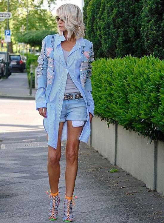 Модный образ с джинсовыми шортами