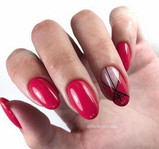 Голый красный маникюр в стиле минимализм