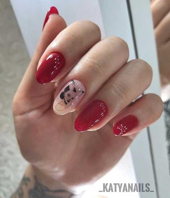 Маникюр с рисунком на голом ногте