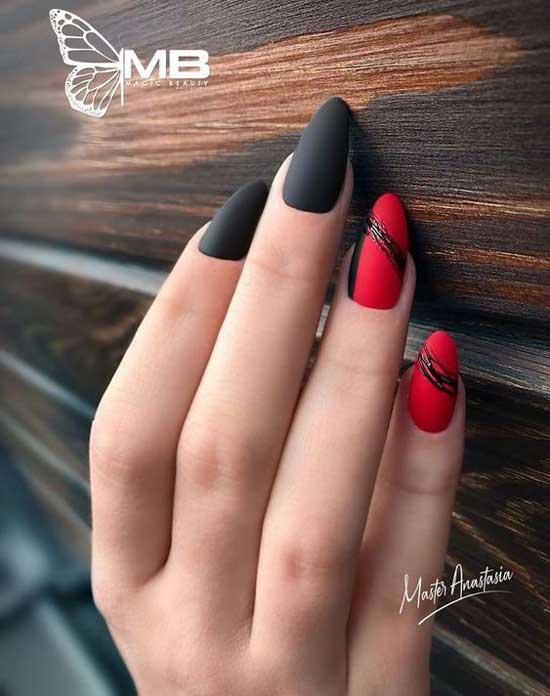 Классический красно-черный маникюр