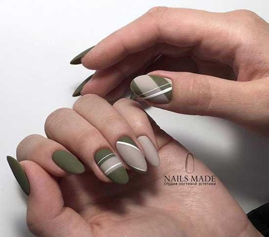 Серый с оливковым - маникюр в классическом стиле