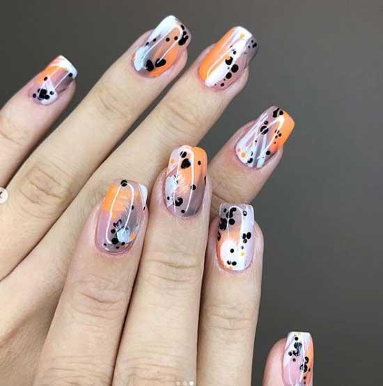 Абстрактный узор - осенний дизайн ногтей