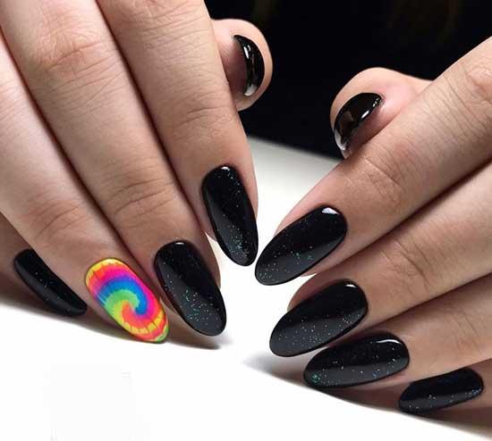 Черный осенний маникюр