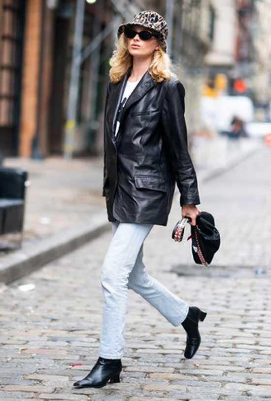 Джинсы с кожаным пиджаком образ
