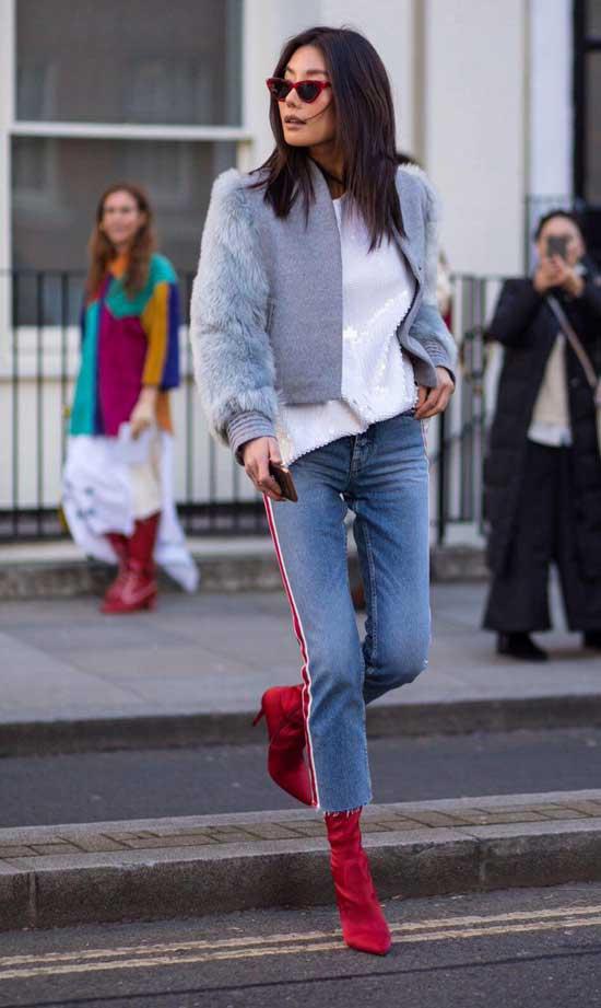 Образ джинсы с цветной обувью