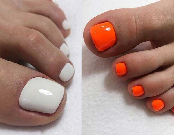Белый и оранжевый педикюр