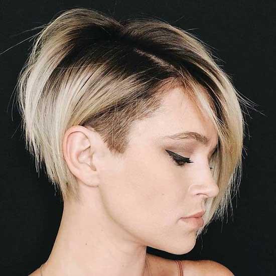 Стрижка на густые волосы с косой челкой